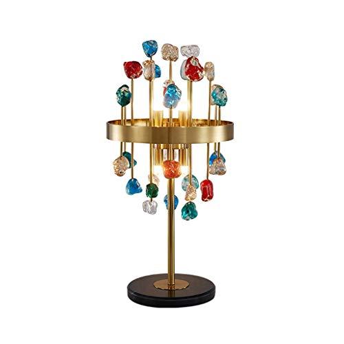 Decorativo Crystal lámpara de cabecera Lámpara de mesa moderna, Metal turística mesita de noche Lámparas de mármol Base G9 Bombilla for el dormitorio de la sala de lectura Iluminación interior