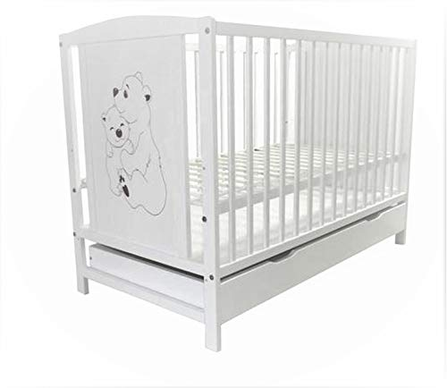 Cuna para bebé con diseño de ositos, incluye colchón y cajón, color blanco, 120 x 60 cm