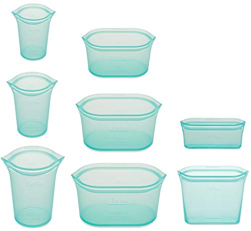 Zip Top Reusable 100% Silicone Food Storage Bags and Containers  Full Set 3 Cups 3 Dishes amp 2 Bags  Teal
