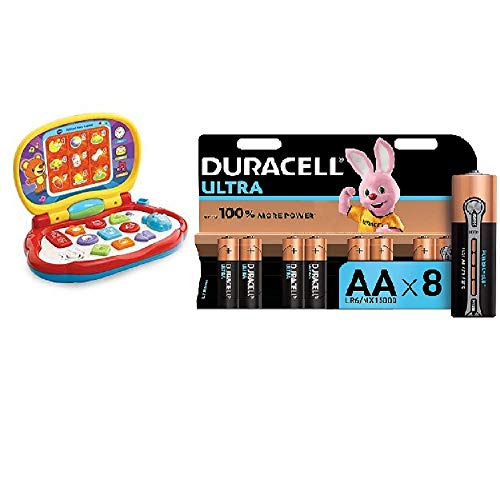 Vtech Baby Laptop Toy,Multicolor and Duracell Ultra AA Alkaline Batteries, 1.5 V LR06 MX1500, Pack of 8