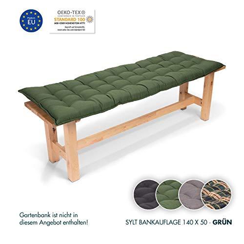 Homeoutfit24 Sun Garden 1-Stück Bankauflage Sylt in Grün Sitzkomfort auf höchstem Niveau, hochwertiges Polsterkissen für Gartenmöbel, 140 x 50 x 7 cm