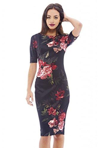 AX Paris Women's Floral Short Sleeve Black Dress(Floral Black, Size:6)