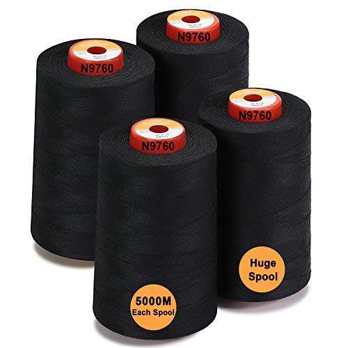 New brothread - 28 Opciones - 4 Bobinas Grandes de 5000M hilo de coser de poliéster todo propósito 40S/2 (Tex27) para coser, acolchar, patchwork, remalladora y overlock - Black