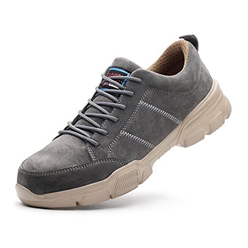 Aingrirn Zapatos de Seguridad Hombre Trabajo Comodos, Punta de Acero Zapatos Ligero Respirable Zapatos de Industria y Construcción (Color : Grey, Size : 38 EU)