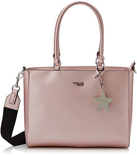 Trussardi Jeans T-Easy Tote Charm Star Logo, Borsa Donna, Rosa (Metal Pink), 35x28x14 cm (W x H x L)