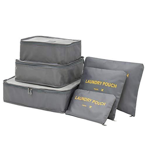 Allinbuy Viaje 6pcs Bolsas de Almacenamiento de Paquetes de Ropa de compresión de Equipaje Bolsas de lavandería Organizador Maleta, Gris