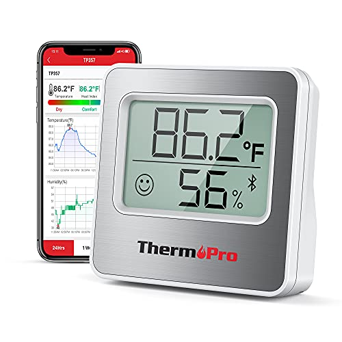ThermoPro TP357 260FT Bluetooth Hygrometer Room Thermometer for Home with Remote Monitor & Smart APP, Temperature Humidity Sensor Gauge with Max Min Records, silver