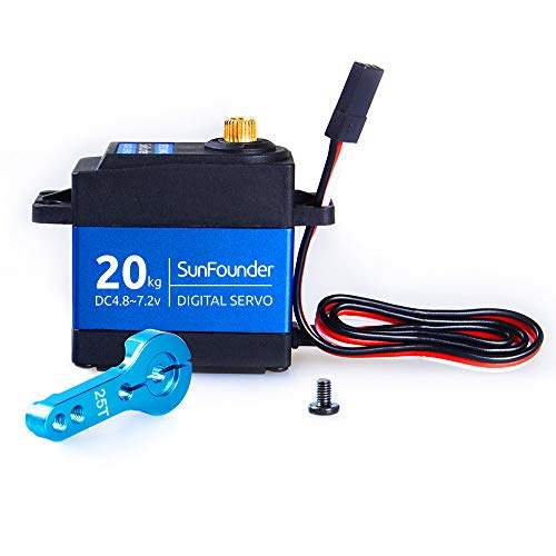 SunFounder 20KG Servo Motor Waterproof High Torque Servo, SF3218MG Metal Gear Digital Servo, Aluminium Case, Control Angle 270° for RC Robot Cars