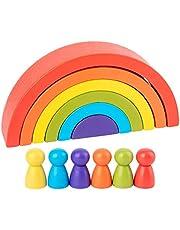 Tomaibaby 1 Set Regenboog Blokken Houten Nestblokken Bouwstenen Set Met Houten Mensen Educatieve Blokken Vroeg Leren Speelgoed Voorschoolse Speelgoed Cadeau Voor Kinderen Kinderen Thuis
