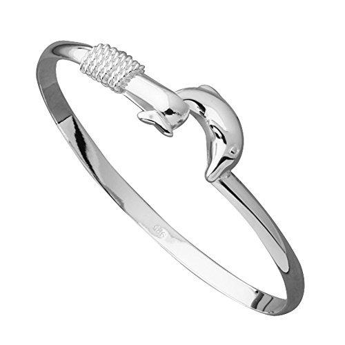 Fendii donna placcato argento delfino braccialetto, marcatura 925