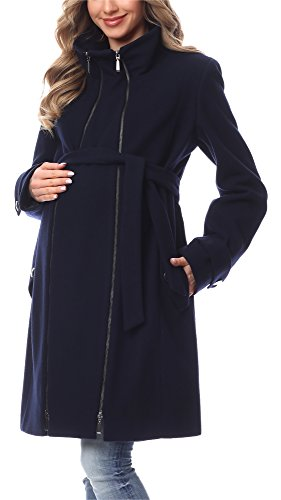 Be Mammy Damen Umstandsmantel Wolle Wintermantel BE20-225 (Marineblau, 40)