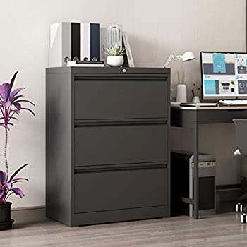 GREATMEET 3 Drawer Lateral File Cabinet with Lock,Legal Size File Cabinet,Metal Lockable Filing Cabinet 28.25  W File Storage Cabinet for Home Office,Black