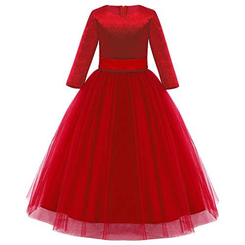 Vestido festivo para niña de manga larga de tul para bodas, dama...