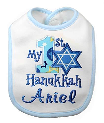 My First Hanukkah Bib Jewish Holiday Handmade Bib Personalized with your Custom Name (Ligth Blue/White Bib)