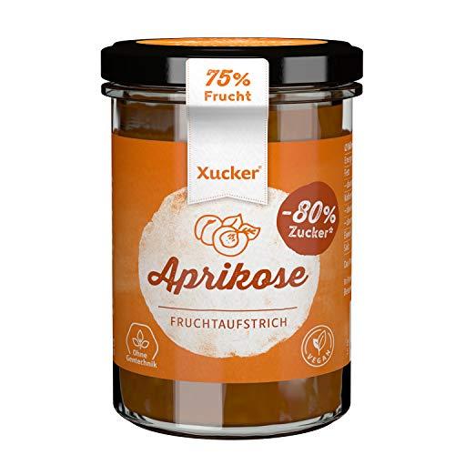 Xucker Fruchtaufstrich Aprikose mit Xylit 220g - Fruchtiger Brotaufstrich mit Xylitol - 75% Fruchtgehalt I vegan & zuckerarm