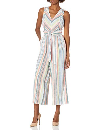 Calvin Klein Damen Sleeveless Cropped Jumpsuit with Self Belt Kleid, Multi, 36