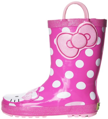 Western Chief Girl's Waterproof Character Rain Boots with Easy on Handles, Hello Kitty Cutie, 4 M US Big Kid