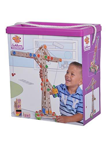 Eichhorn Constructor Kran, vielseitiges Holzspielzeug, 170 Bauteile, 5 verschiedene Konstruktionen, für Kinder ab...