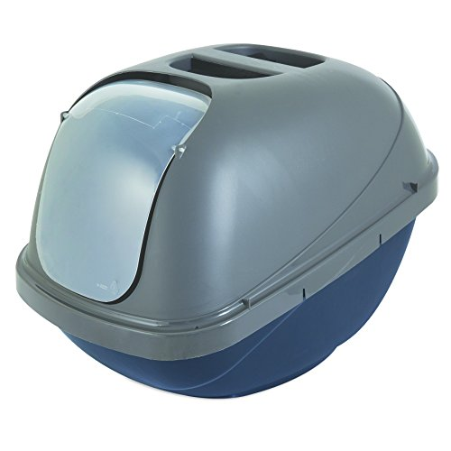 """Petmate Basic Hooded Cat Litter Pan, Blue and Silver, Large, 19"""" x 15"""" x 14"""""""