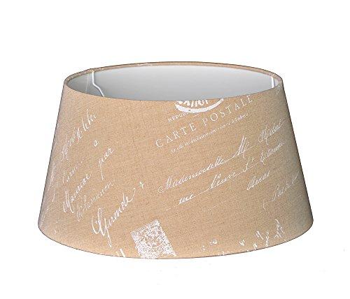 Lampenschirm für Tischleuchte in Rund Postmark Leinen Natur TL 45-35-24