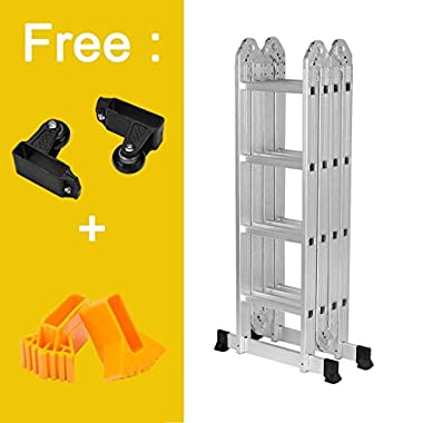 Finether 15.4ft Heavy Duty Multi Purpose Aluminum Folding Extension Ladder with Safety Locking Hinges 330lb Capacity (New Non-slip Mat and Wheels for Free)