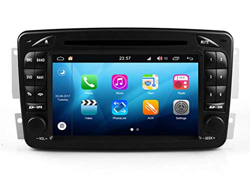 KLL Android Sistema 7 Pulgadas Doble DIN en Dash Autoradio GPS para Mercedes-Benz W203 S203 C180 C200 C220 C230 C240 C270 C280 C300 con Sistema de navegacioacute;n esteacute;REO DVD USB