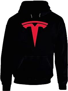 Tesla Logo Cool klassisk bil gåva Hoodie VIT.