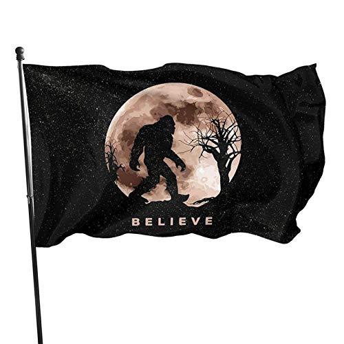 Nauuy Bigfoot Sasquatch Full Moon 3' X 5' Ft Ornament Outside Yard Garden Flag Decorations
