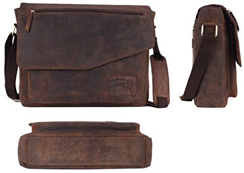 TUSC Triton Braun Leder Tasche Laptoptasche 14 Zoll 15,6 Zoll Herren Umhängetasche Aktentasche Schultertasche für Büro Notebook Messenger Bag Laptop iPad, Größe- 39x30x9 cm