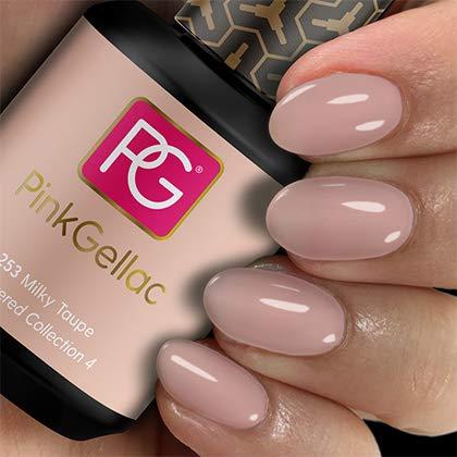 PINK GELLAC Esmalte de uñas Shellac de 15 ml para lámpara UV LED | 253 Milky Taupe Rosa Rosa Rosa | Esmalte de uñas de gel para UV Nail Lamp Pink | LED uñas gel gel