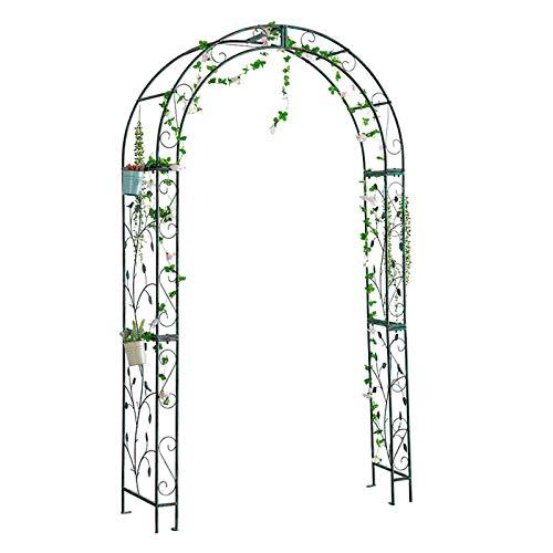 Metal Garden Arch Trellis,7.2 Feet High x 4 Feet width Rose Arbor,Sturdy Wedding Archway,for Climbing Vines and Plants,Festival Decoration,Green