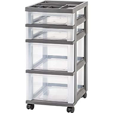 IRIS 4-Drawer Rolling Storage Cart with Organizer Top, Gray
