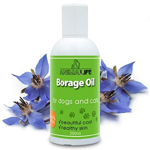 Borretschöl 250ml - für Hunde & Katzen - 100{14401c06488d3a1751f1a7b1f242b7a1dabad0b4f4a9373f362e6888f7e4b5d9} Naturprodukt für Haustiere - Unterstützt Natürliche Hormonbalance - Hautstoffwechsel - Reich an Ungesättigten Fettsäuren - Borago Oil for Pets