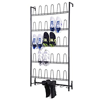 MyGift Black Metal Wall Mounted Boots and Shoe Rack 18 Pair Entryway Shoe Storage Organizer Stand