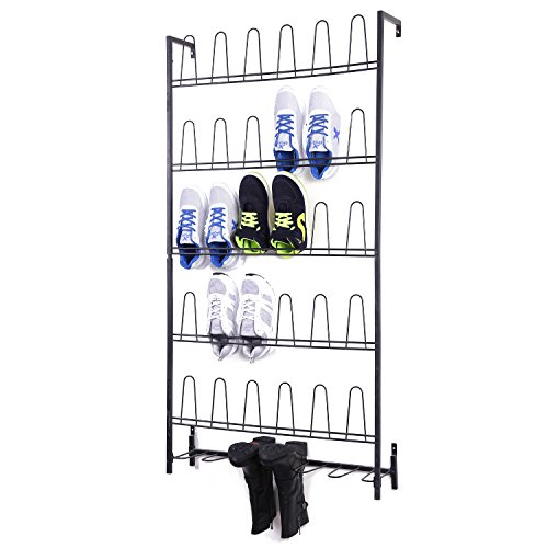 MyGift Black Metal Wall Mounted Boots and Shoe Rack, 18 Pair...