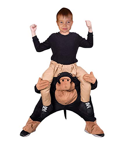 Seruna Carry-me AFFE-n Kostüm-e F134 Gr. 110-116, Trag Mich Huckepack Kinder-Kostüme Mädchen u. Jung-en Schimpanse-n Gorilla Fasching-s Karneval-s Geburtstags-Geschenk