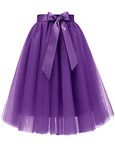 Bridesmay Women's Christmas Knee Length 5-Layered Tulle Skirt Evening Party Prom Skirt Purple XL