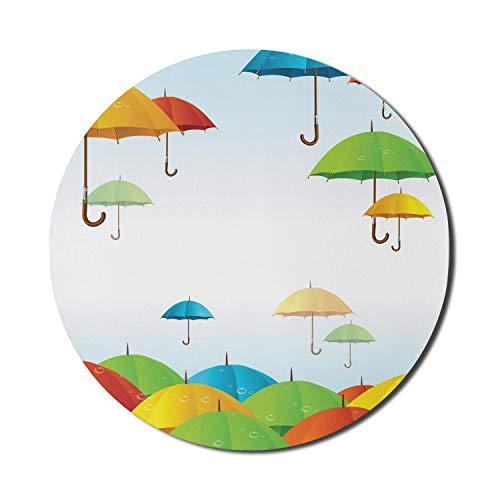 Buntes Mauspad für Computer, Regenschirme im Himmel Klimameteorologie Sturm Gießen Herbst Regen Freiheit Wetter Thema, Runde rutschfeste dicke Gummi Modern Gaming Mousepad, 8 'rund, mehrfarbig