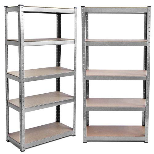 SiKy Heavy Duty Storage Shelf | 150cm x 70cm x 30cm 5 Tier Steel & MDF Boltless Shelves | Shelving Garage Racking Unit 175KG Per Shelf 875KG Capacity, UK Stock(Galvanised)