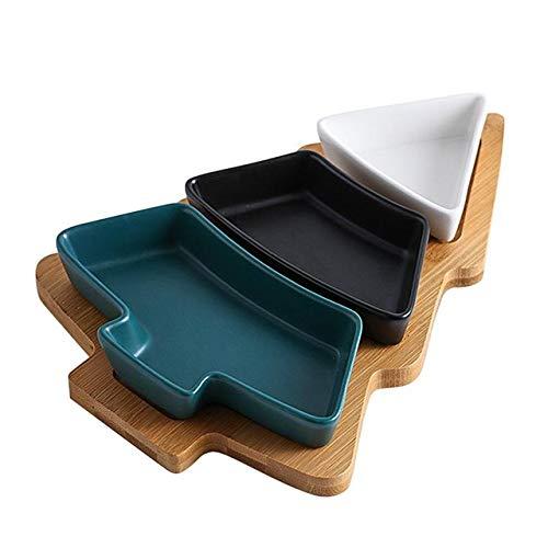 FSHB Abnehmbarer Weihnachtsbaum Keramik Geschirrtablett Snackplatte Keksplatten Weihnachtsfeier Dessert Geschirr mit Bambusbodenständer, gemischt