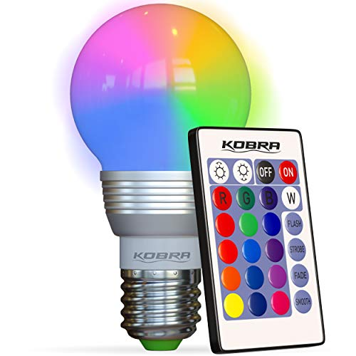 KOBRA Products LED Bulb Color Changing Light Bulb with Remote Control 16 Different Color Choices Smooth, Flash or Strobe Mode- Premium Quality & Energy Saving Retro LED Lamp