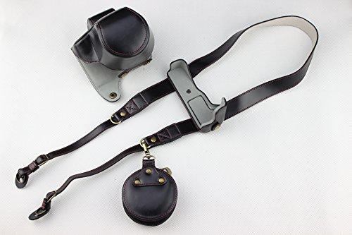 EOS M50 Camera Case, Zakao PU Fullbody Bottom Opening Versie Beschermende Lederen Camera Case Tas voor Canon EOS M50 15-45mm Lens met Schouderband en Mini Tas, Zwart