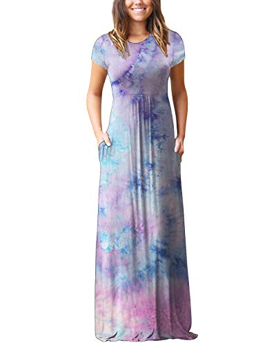Kidsform Maxi Kleid Damen Casual Sommerkleid Kurzarm Lange Kleid Mit Tasche Lose Strandkleider HoheTaille B1-Batik 4 XL