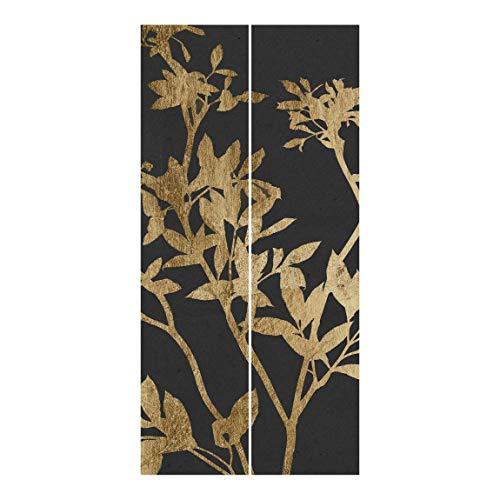Schiebegardinen Set Goldene Blätter Mokka II 2 Flächenvorhänge je 250x60cm Wandhalterung