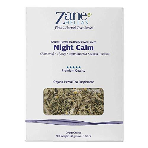 ZANE HELLAS Finest Herbal Teas. Night Calm. Manzanilla, hisopo, té de montaña, verbena de limón. Hora de dormir Té. Ideal para sueño profundo, alivio del estrés, descanso y recuperación - 90 gr.…