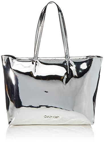 Calvin Klein Damen Ck Must F19 Med Shopper S Umhängetasche, Grau (Silver), 11x27x39 cm