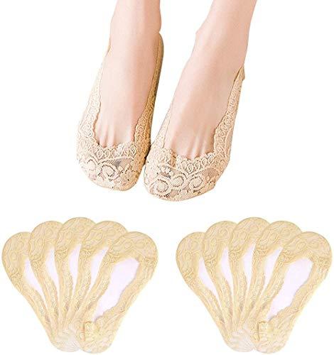 BDFA 10 Paia Donna No Show Calze da barca in pizzo Calzini alla caviglia antiscivolo Calzini invisibili fodera a taglio basso per mocassini sneaker