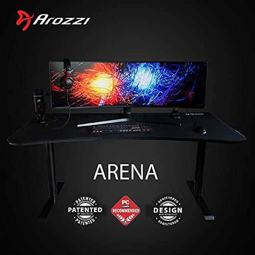 Arozzi Arena Gaming Scrivania, Metallo, Nero Assoluto, 160 x 82 x 75 cm