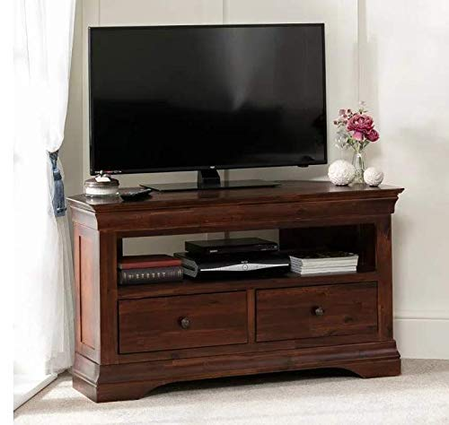 French Hardwood Mahogany Stained Corner TV Unit - to fit TVs up to 44