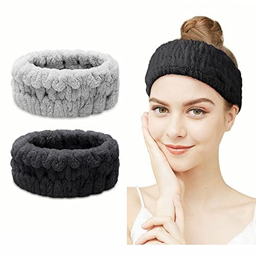 Fascia per capelli Spa - 2 pezzi Fascia per Viso Spa per Trucco e Lavaggio Viso Fascia Elastica Donna per Spa Yoga Sport Doccia Fascia per trucco (Nero + grigio)